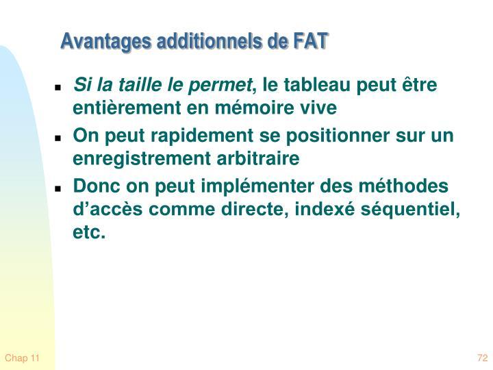Avantages additionnels de FAT