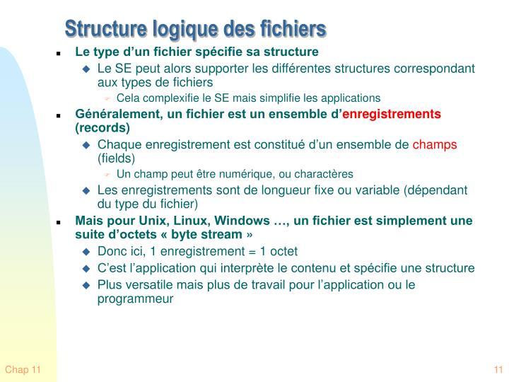 Structure logique des fichiers