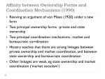 affinity between ownership forms and coordination mechanisms 1990