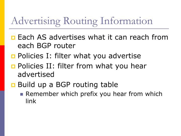 Advertising Routing Information