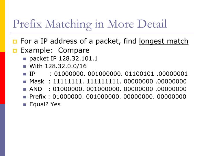Prefix Matching in More Detail