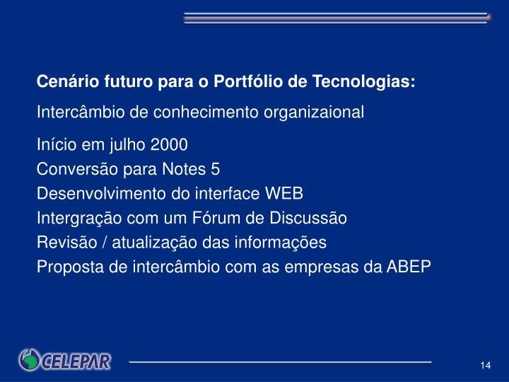 Cenário futuro para o Portfólio de Tecnologias: