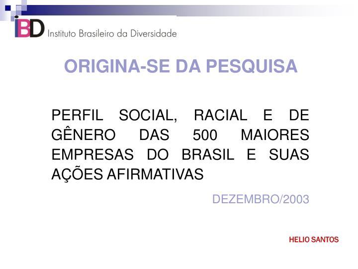 ORIGINA-SE DA PESQUISA