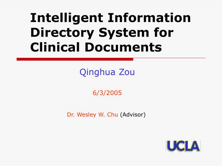 intelligent information directory system for clinical documents n.