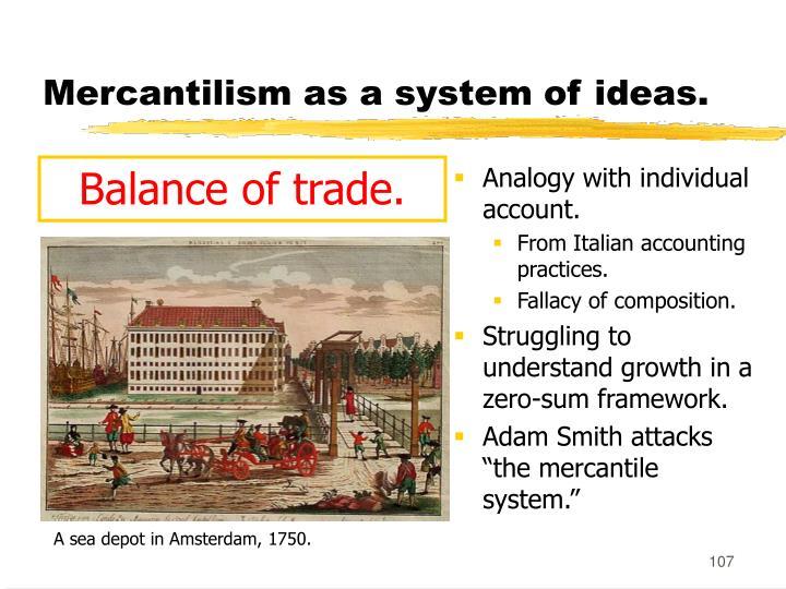 Mercantilism as a system of ideas.
