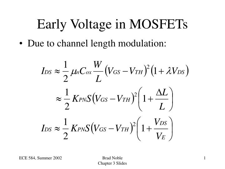 Early voltage in mosfets