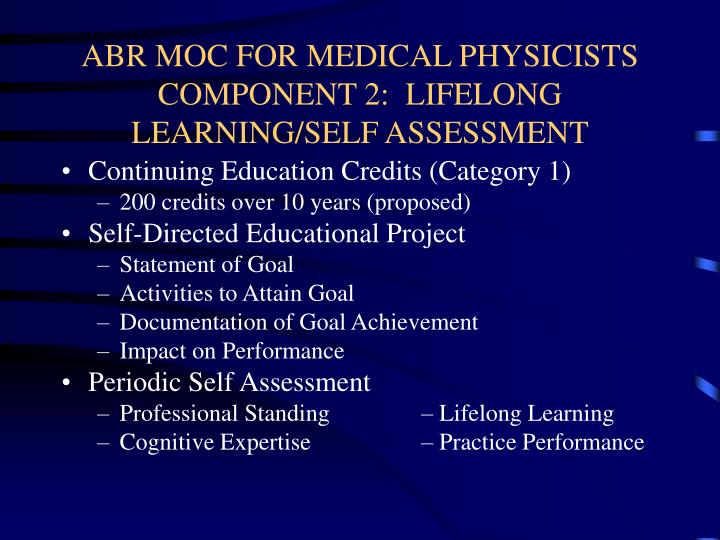 ABR MOC FOR MEDICAL PHYSICISTS