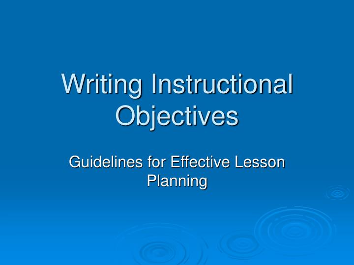 writing instructional objectives n.