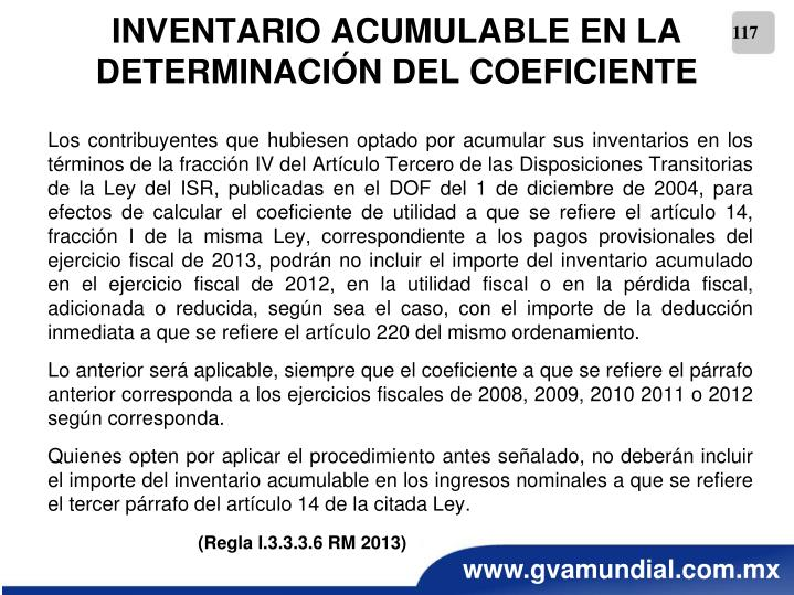 INVENTARIO ACUMULABLE EN LA DETERMINACIÓN DEL COEFICIENTE