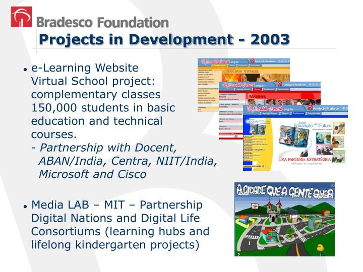 Projects in Development - 2003