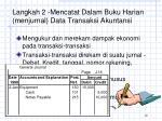 langkah 2 mencatat dalam buku harian menjurnal data transaksi akuntansi