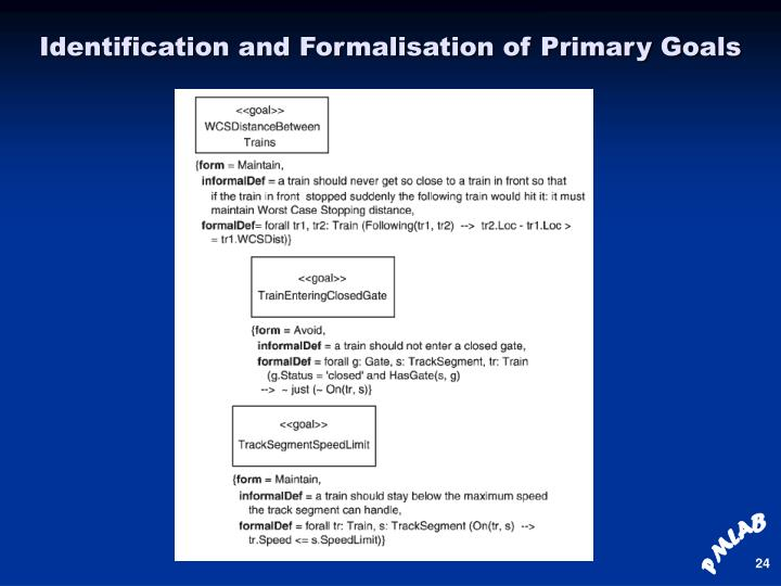 Identification and Formalisation of Primary Goals