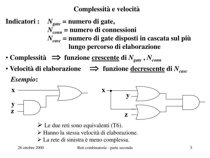 Complessit e velocit