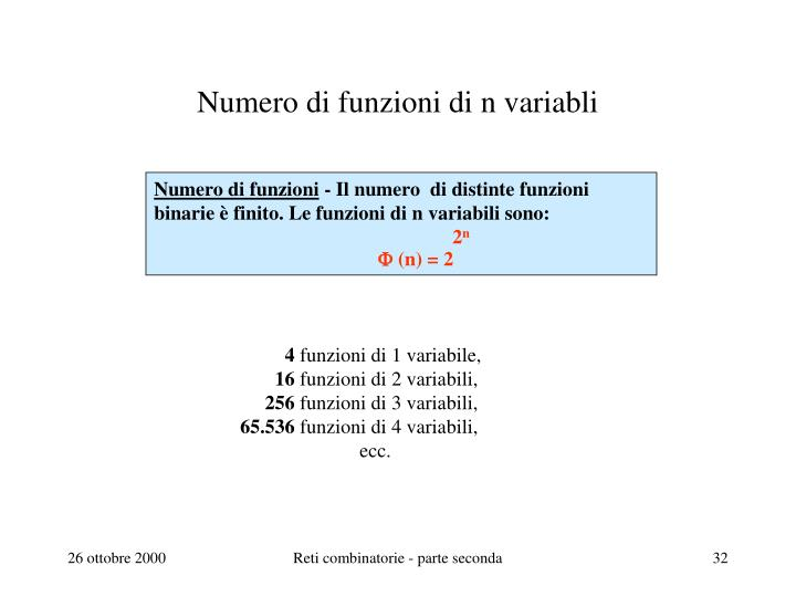 Numero di funzioni di n variabli