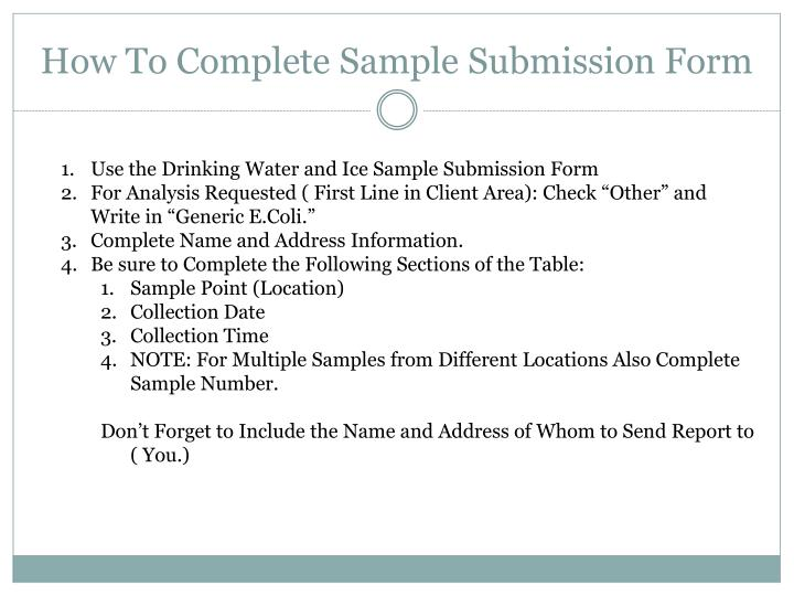 How To Complete Sample Submission Form