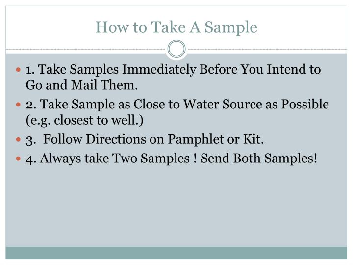 How to Take A Sample