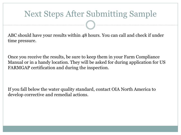 Next Steps After Submitting Sample