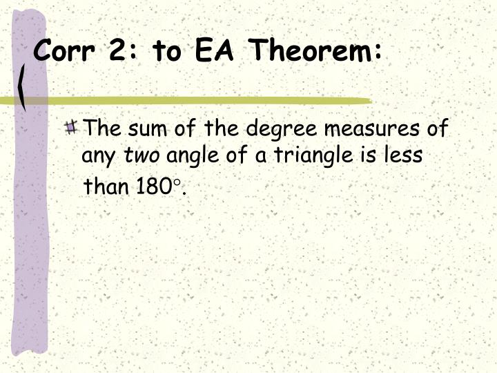 Corr 2: to EA Theorem: