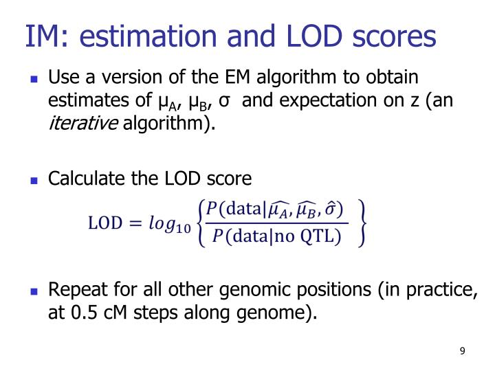 IM: estimation and LOD scores