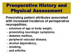preoperative history and physical assessment