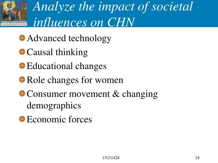 Analyze the impact of societal influences on CHN