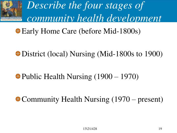 Describe the four stages of community health development