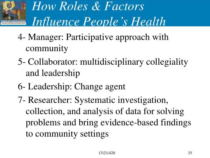 How Roles & Factors Influence People's Health