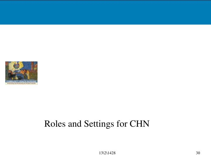 Roles and Settings for CHN