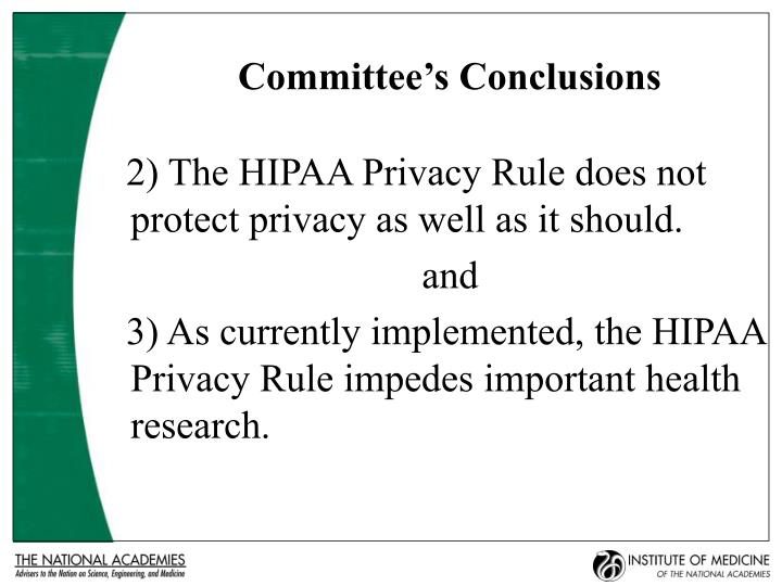 Committee's Conclusions