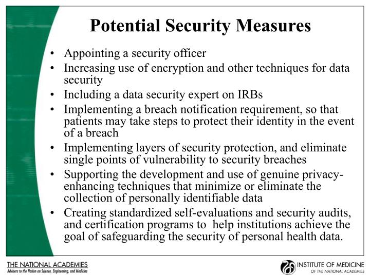 Potential Security Measures