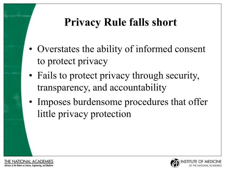 Privacy Rule falls short