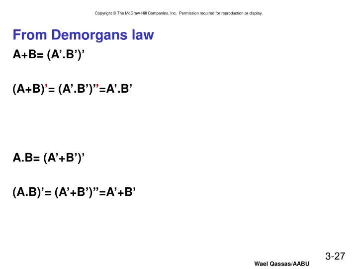 From Demorgans law