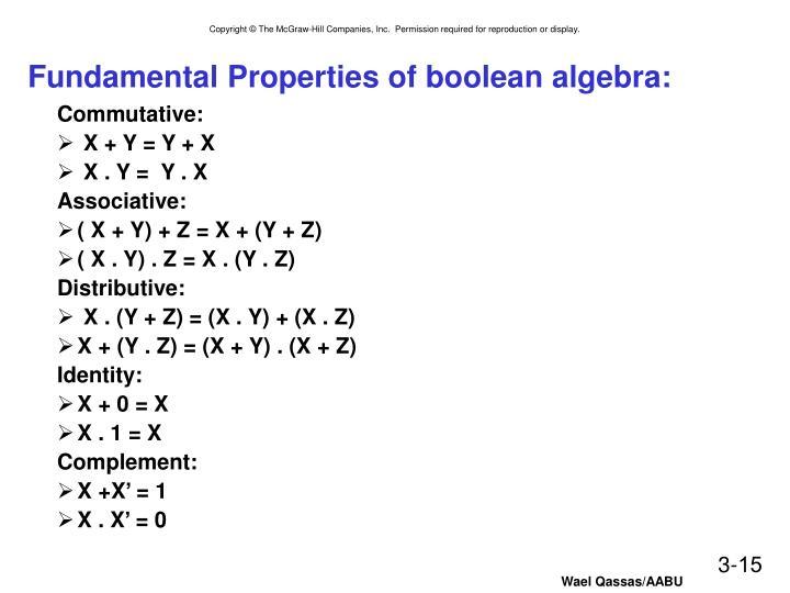Fundamental Properties of boolean algebra: