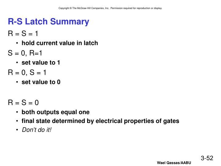 R-S Latch Summary
