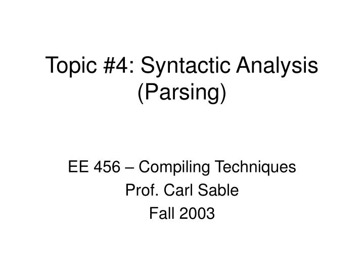 topic 4 syntactic analysis parsing n.