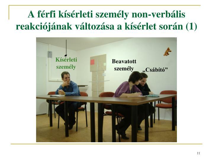 A férfi kísérleti személy non-verbális reakciójának változása a kísérlet során (1)