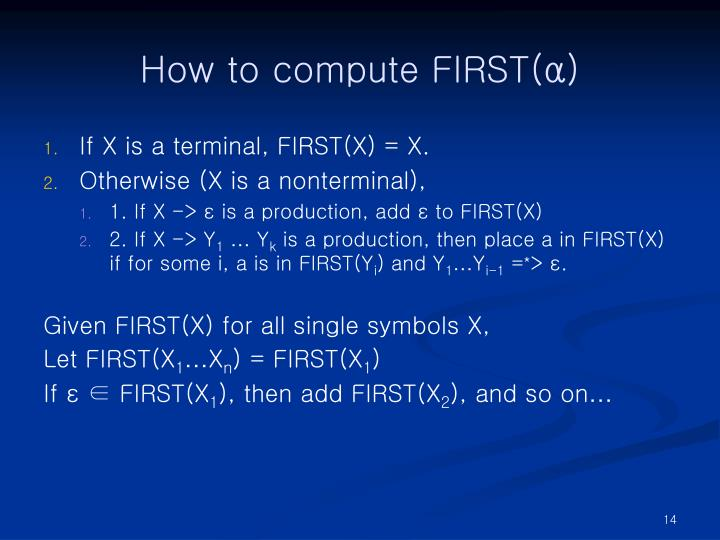 How to compute FIRST(α)