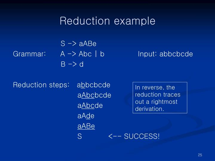 Reduction example