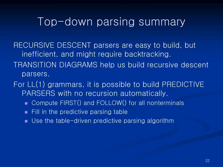 Top-down parsing summary