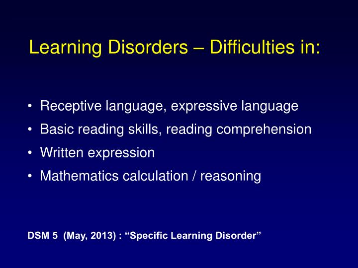 Learning Disorders – Difficulties in: