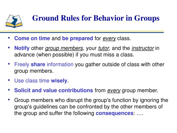Ground Rules for Behavior in Groups