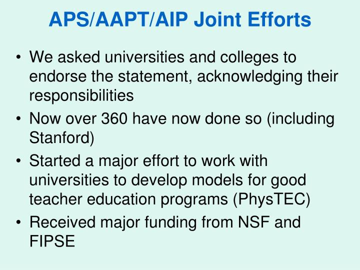 APS/AAPT/AIP Joint Efforts