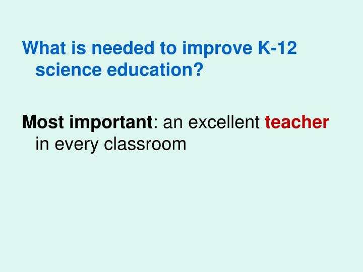 What is needed to improve K-12 science education?