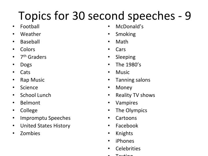 topics for 30 second speeches 9 football