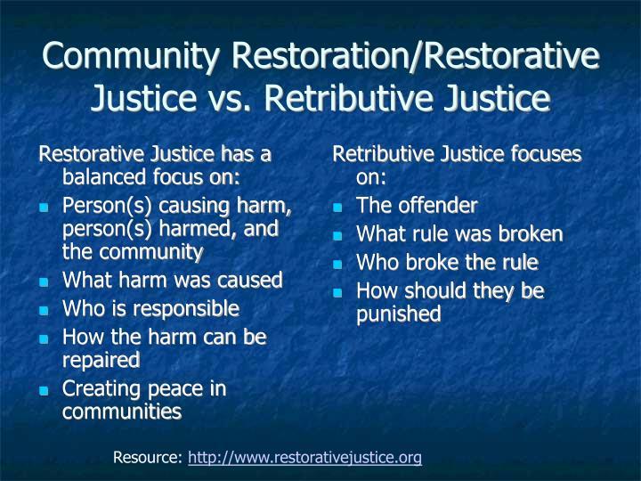 Community Restoration/Restorative Justice vs. Retributive Justice