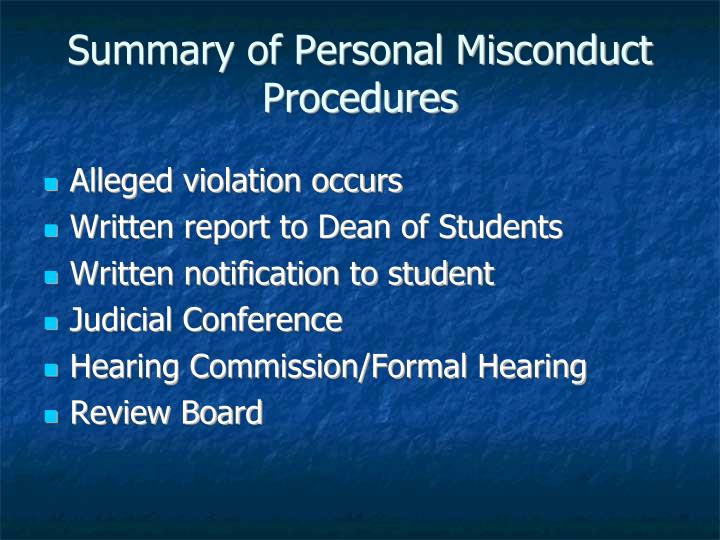 Summary of Personal Misconduct Procedures