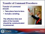 transfer of command procedures