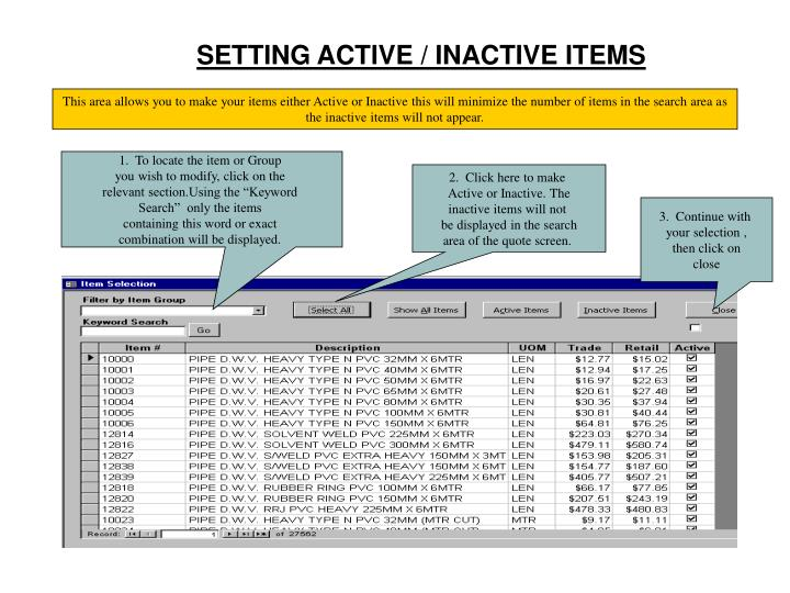 SETTING ACTIVE / INACTIVE ITEMS