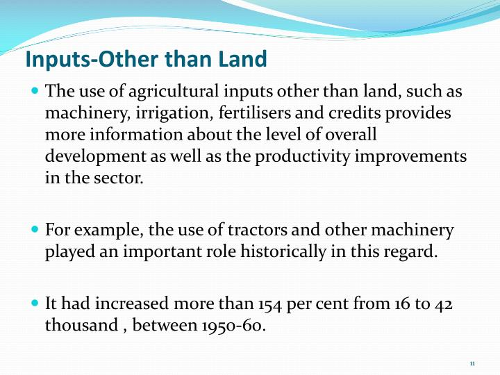 Inputs-Other than Land