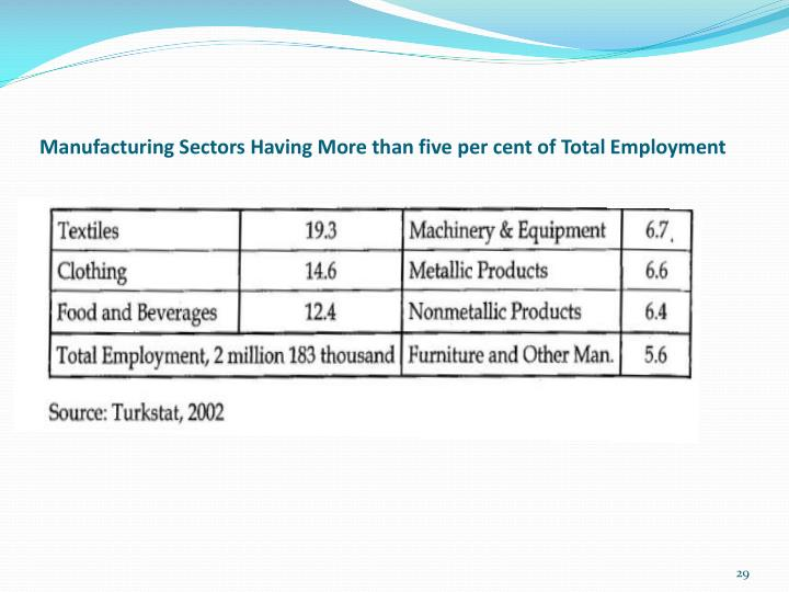 Manufacturing Sectors Having More than five per cent of Total Employment